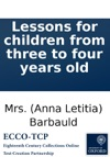 Lessons For Children From Three To Four Years Old