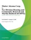 Matter Alcoma Corp V Nys Division Housing And Community Renewal And Martha Bedford