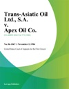 Trans-Asiatic Oil Ltd SA V Apex Oil Co