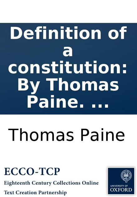 Definition Of A Constitution By Thomas Paine On IBooks