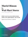 Muriel Hinson V Wal-Mart Stores