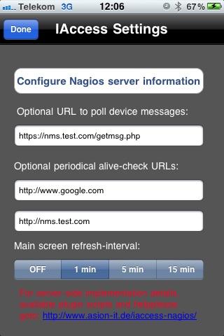 Screenshot of IAccess for Nagios