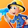 活躍!遊戲有關消防部門的幼兒:遊戲,拼圖和謎語的幼兒園,學前班或幼兒園。 學習 與消防隊員,消防員,消防車,警察,軟管和更