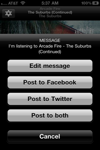 Tunes Share - share your music on Facebook and Twitter screenshot 4