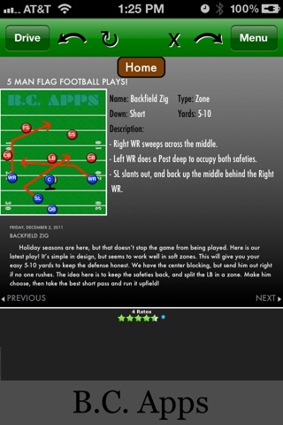 5-Man Flag Football Plays-Offense screenshot 1