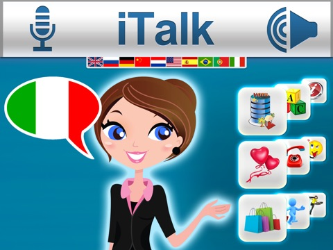 iTalk Italian: Conversation guide - Learn to speak a language with audio phrasebook, vocabulary expressions, grammar exercises and tests for english speakers HD screenshot 1