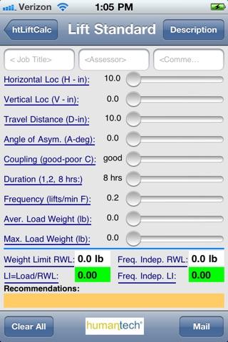 HT NIOSH Lift calculator - AppAddict