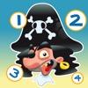 Gioco per i bambini di età 2-5 sui pirati del mare: Impara a contare i numeri 1-10 per la scuola materna, scuola materna o la scuola materna con pirata, il capitano, pappagallo, tesoro, coccodrillo e nave