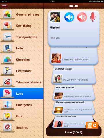 iTalk Italian: Conversation guide - Learn to speak a language with audio phrasebook, vocabulary expressions, grammar exercises and tests for english speakers HD screenshot 2