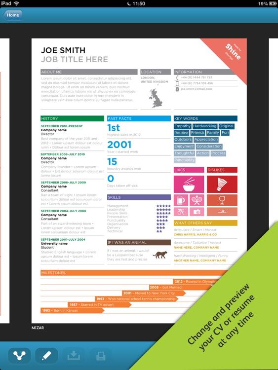 shine resume designer by boluga