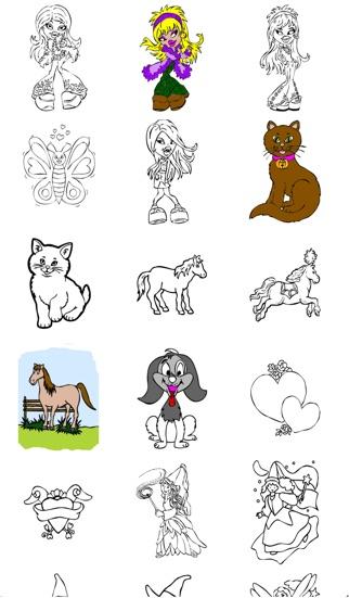 Libro colorear para niñas para el iPhone y el iPod con lápices de ...
