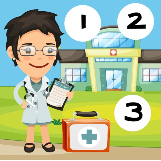 123 Animitiertes計數遊戲為幼兒:我的第一個數學問題。到10學在醫院數