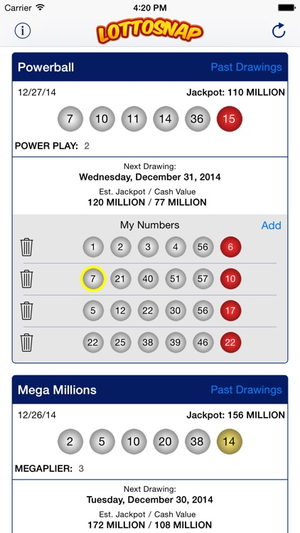 LottoSnap - Lotto Results and Ticket Scanner for Megamillions, Powerball  and Other Lottery Games by Gondola Software