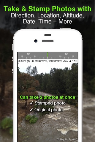 Solocator - GPS Field Camera to stamp photos with location, direction, altitude, date, time + optional editable notes screenshot 1
