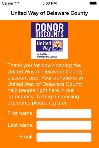 United Way of Delaware County Donor Discounts screenshot 1
