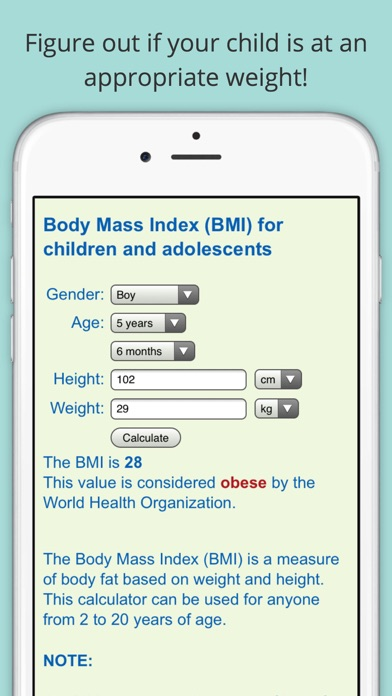 Child BMI Calculator (Body Mass Indicator for Children and Adolescents)Screenshot of 1