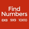 Find Numbers: 8x8 9x9 10x10
