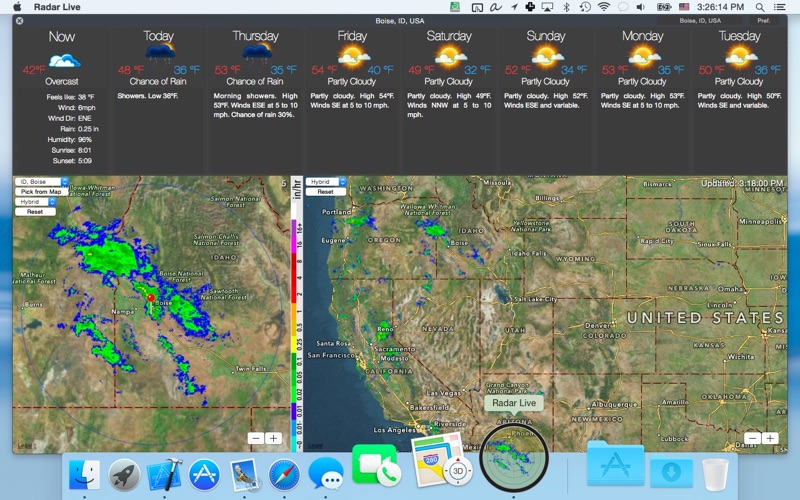 Radar Live: NOAA doppler radar loop & 7-day national weather forecast (pro  version) on the Mac App Store