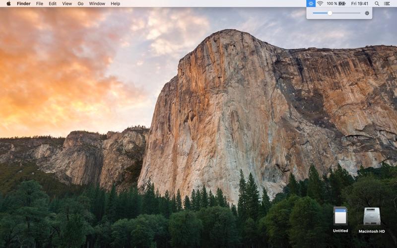 Brightness menu bar | Change display luminosity Screenshot