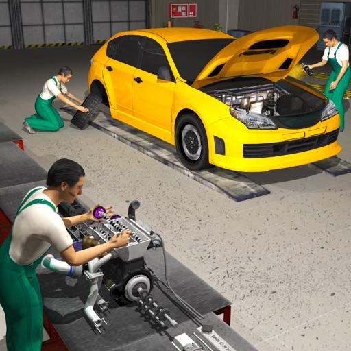 車のメカニックエンジンのオーバーホール:自動車修理工場 3D ...