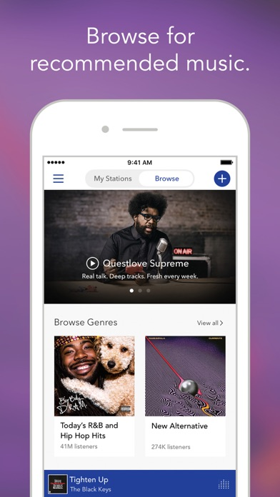 Screenshot of Pandora Music App