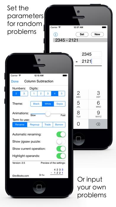 Column Subtraction Screenshots