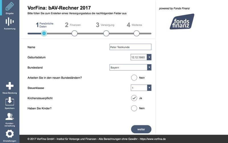 bAV-Rechner Fonds Finanz for Mac