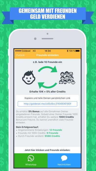 """goldesel - geld verdienen"""" im app store, Einladung"""