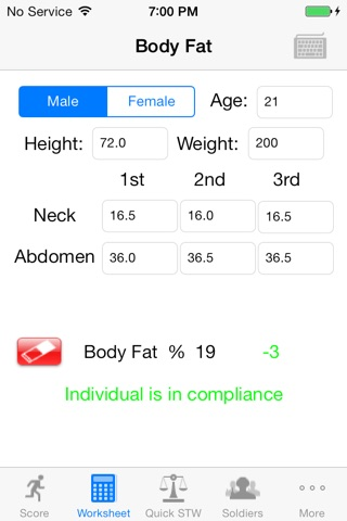 Army Fitness APFT Calculator screenshot 3
