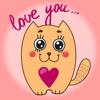 Funny cats - Set of beautiful cute emoji emotions