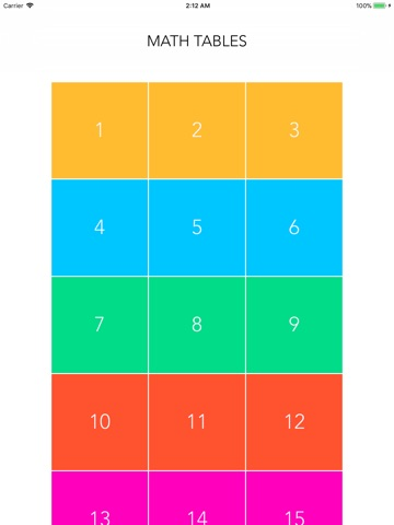 Maths table for kids