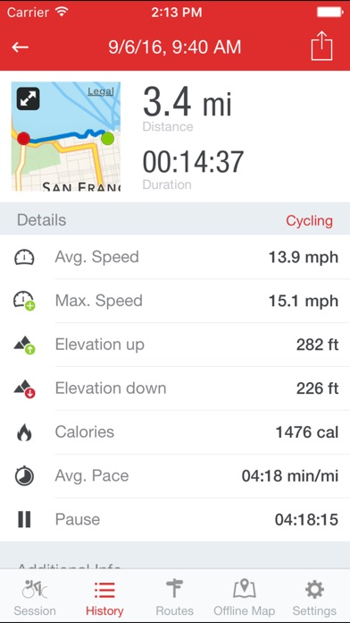 Runtastic Road Bike GPS Screenshots