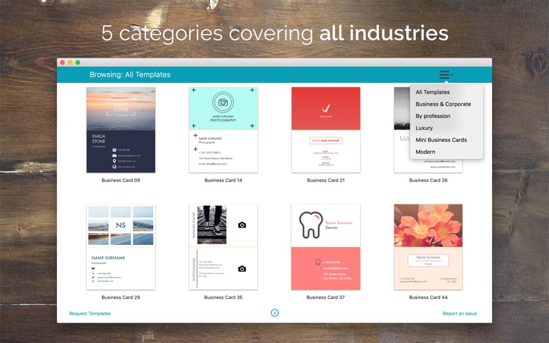 business card template pages mac
