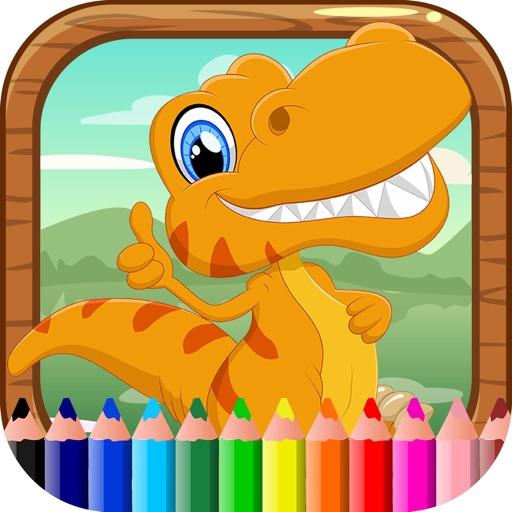 Libro di colorazione del dinosauro Bambini Imparar