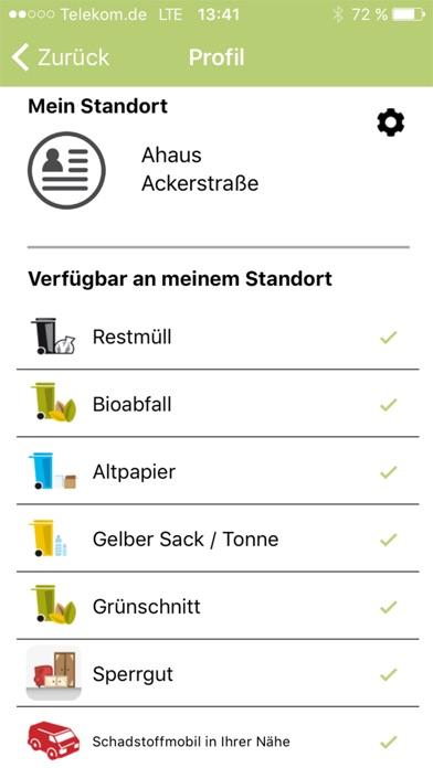 Screenshot von Abfall-App WML2