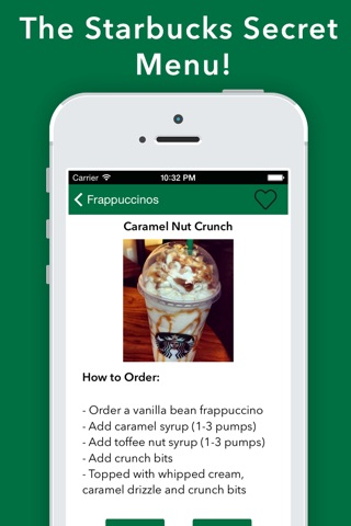 Secret Menu for Starbucks - Coffee Tea Recipes screenshot 1