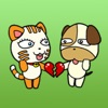 Cat And Dog Dating Sticker