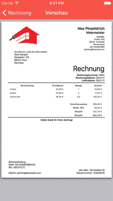mobile invoice einfach pdf rechnungen erstellen im app. Black Bedroom Furniture Sets. Home Design Ideas
