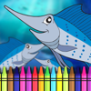 Aquatic Coloring Book-Ocean Animals Painting Pages