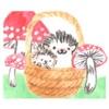 Watercolor Hedgehog and Mushroom Sticker