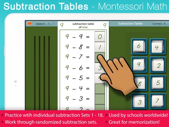 Subtraction Tables  Montessori Math Exercises On The App Store