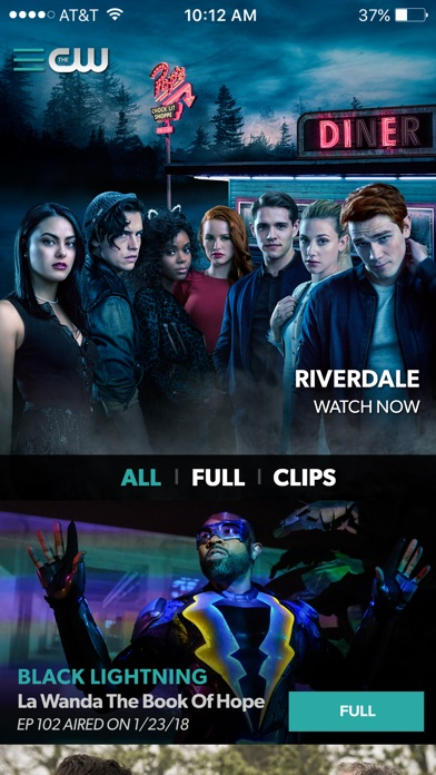 Screenshot of The CW App