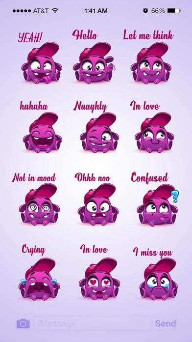 Animated Cute Purple Sticker screenshot 3