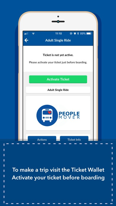 Screenshot of People Mover mTicket App