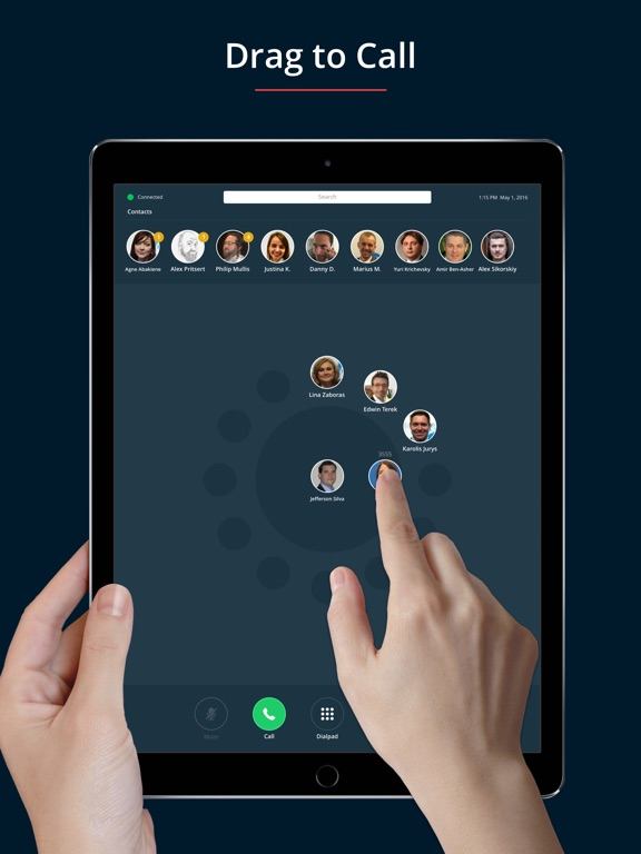 Screenshots of call.center softphone for iPad