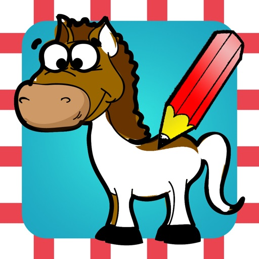 A Coloring Book of Horses for Children: Learn to draw and color pony, horse riding, equestrian and more iOS App
