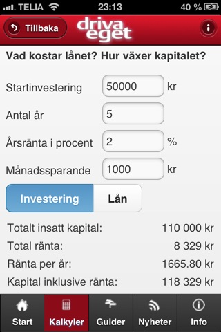 Kalkyl Driva Eget screenshot 4
