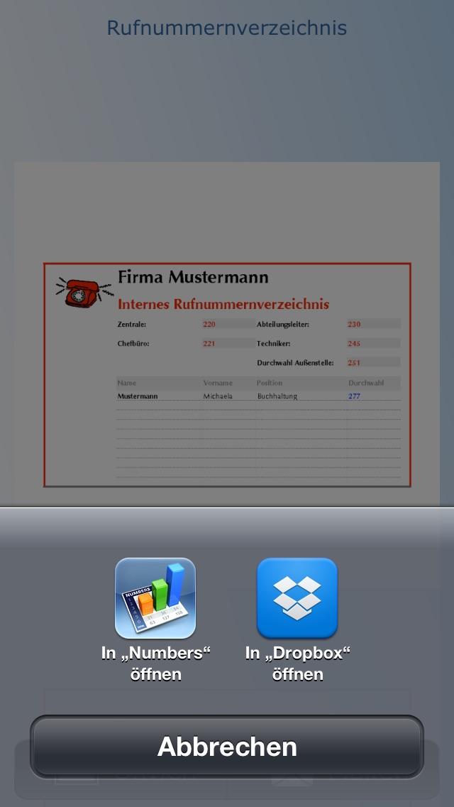 Screenshot von Vorlagen für Numbers4
