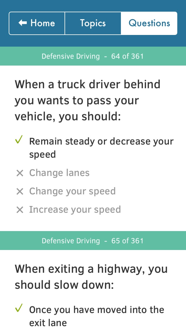 Screenshots of US Driving Knowledge Test Questions - Preparation for your Driver's License Written Exam - All States - DMV, DOL, or MVC - Free Drivers' Mock Tests for iPhone
