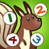 Gioco per i bambini di età 2-5 sugli animali del bosco: Impara a contare i numeri 1-10 per la scuola materna, scuola materna o asilo nido scuola con volpe, orso, riccio, tartarughe, scoiattoli, insetti, alberi e fiori